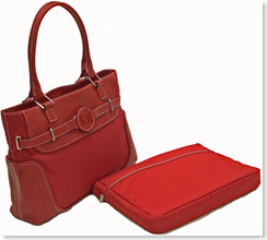 Veronica London Laptop Tote Red