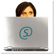 Simone Eyes with Laptop With S